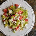 Courgette ribbon salad with watermelon feta and fennel pollen