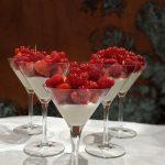 Summer berries with white chocolate and yogurt