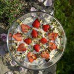Super easy strawberry and rhubarb trifle